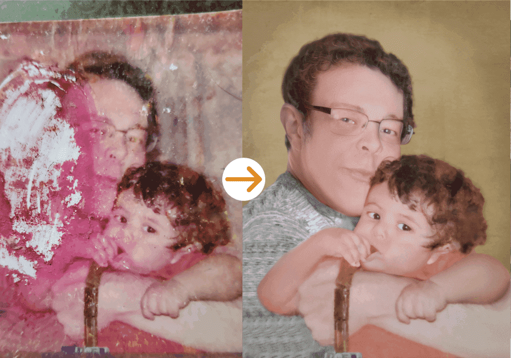 son and father photo restoration