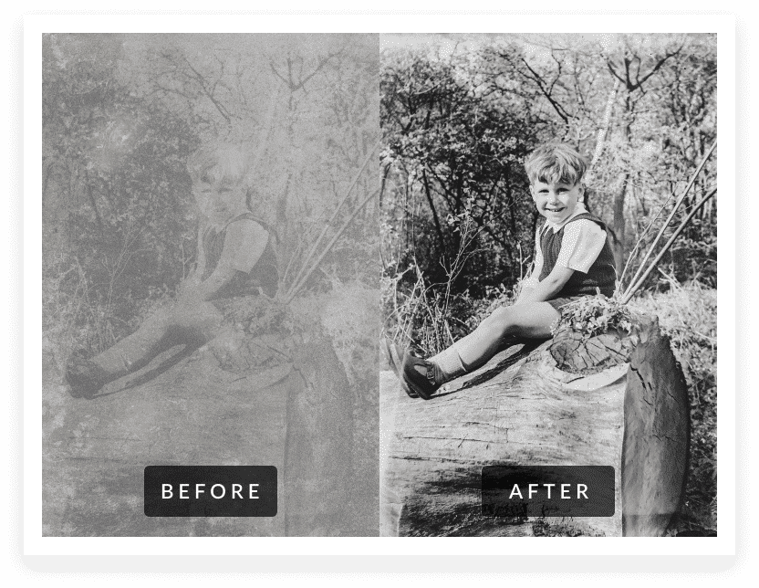little boy sitting before & after photo restoration
