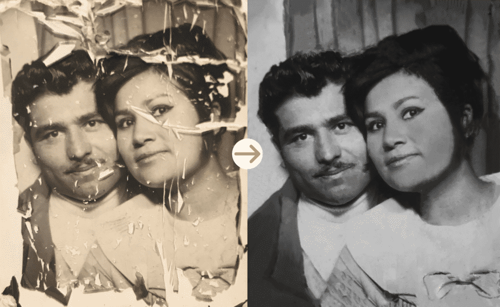 romantic couple photo restoration