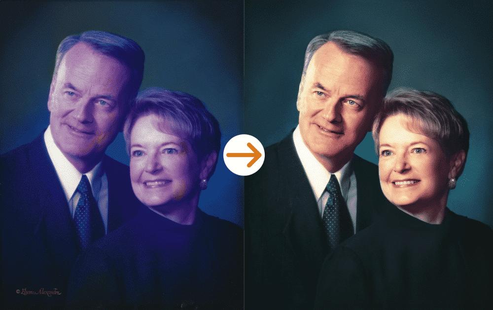 middle aged couple photo restoration