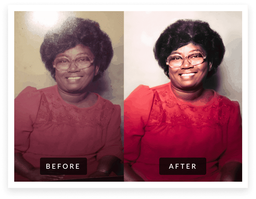 african american grandmother before & after photo restoration