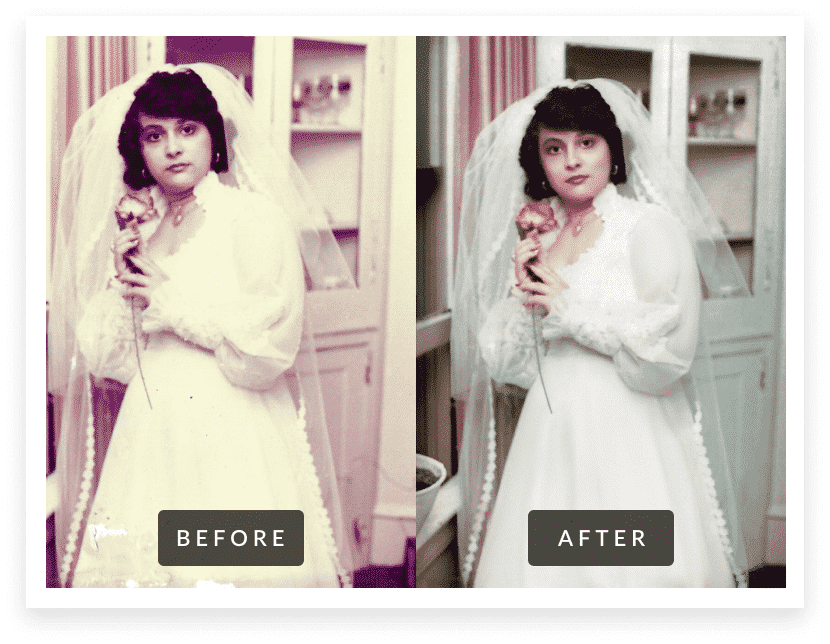 woman in wedding dress before & after photo restoration