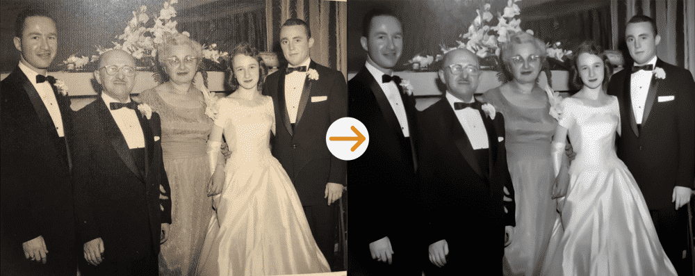 group of people photo restoration