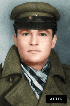soldier photo restoration by memorycherish before & after