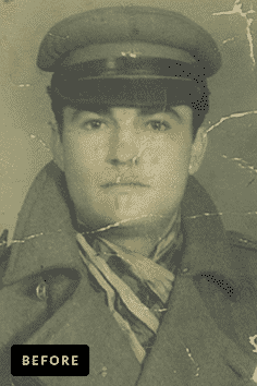 soldier photo restoration by memorycherish before & after 2