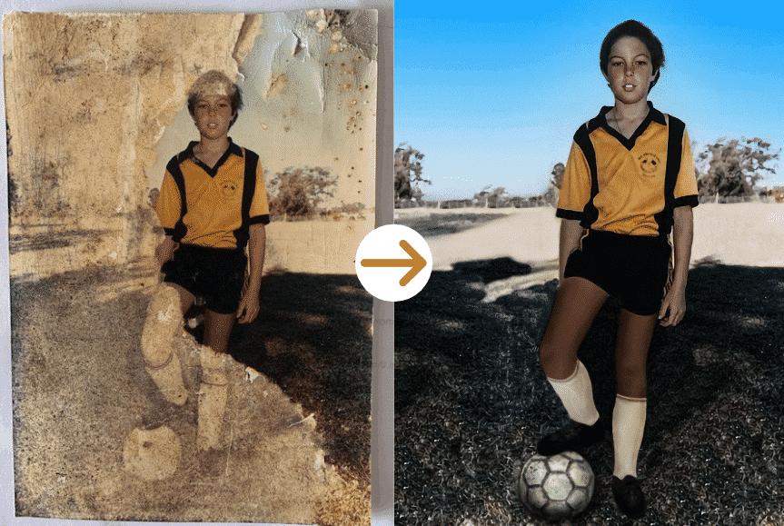 boy playing football photo restoration by memorycherish