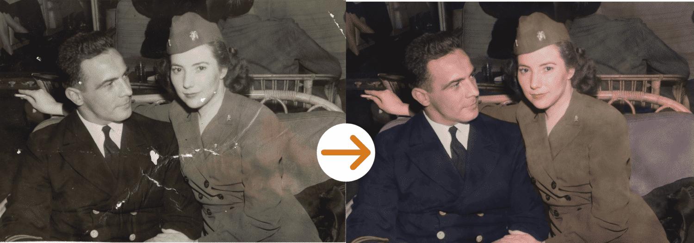 soldier and man photo restoration