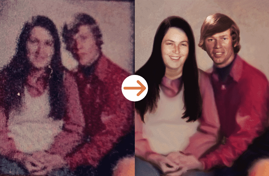 couple holding hands photo restoration by memorycherish