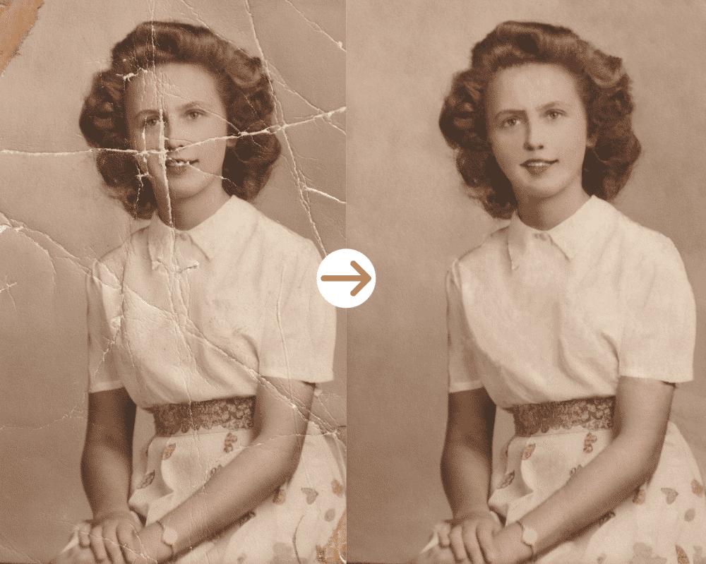 woman in dress photo restoration