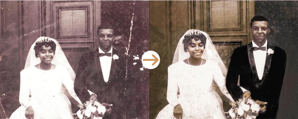 african American wedding photo restoration