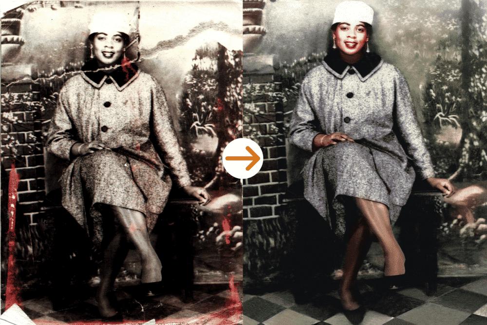 elegant woman photo restoration