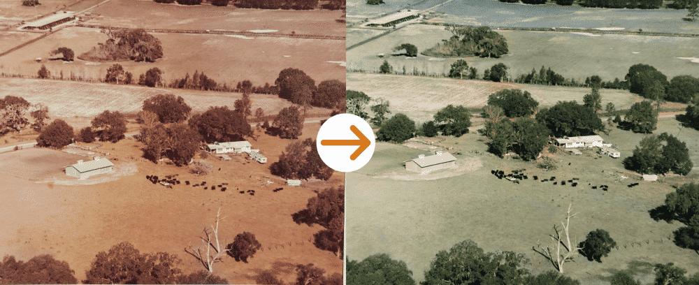 farm aerial photo restoration